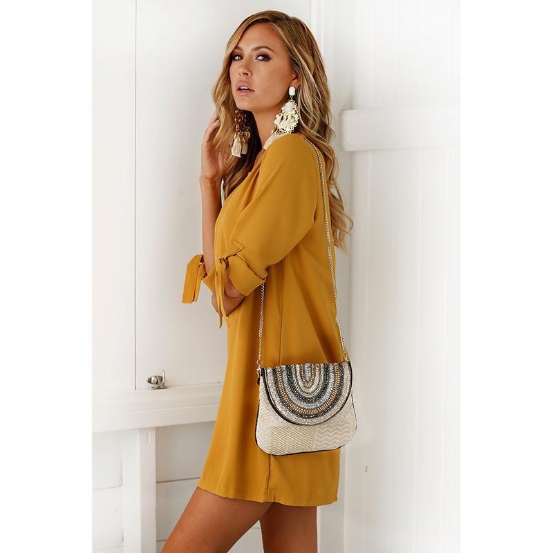 0e0577d922c2 Vestidos Ladies Office Clothes Wear Casual Pencil Bow Tie Dresses ...