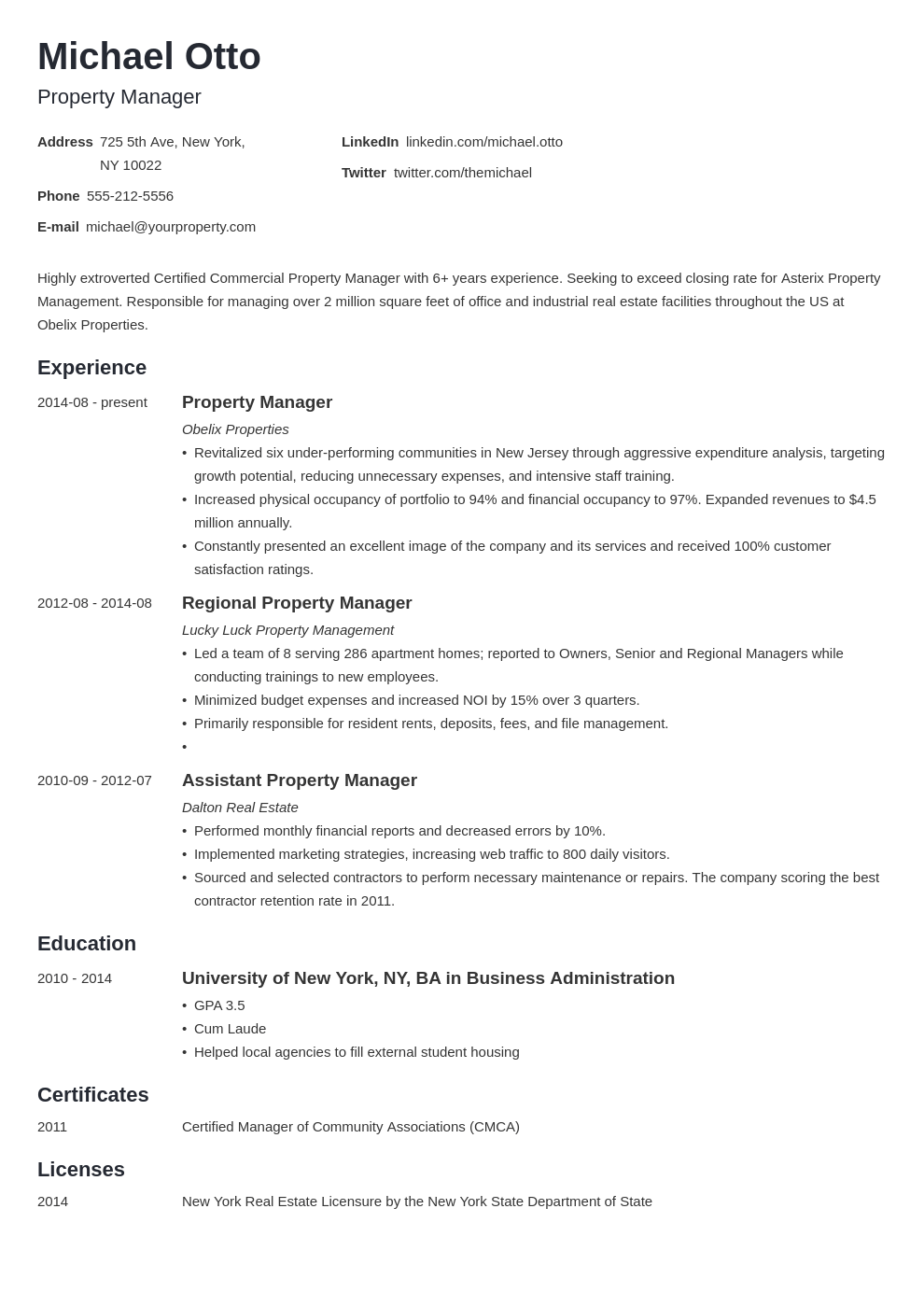 property manager resume example template minimo in 2020