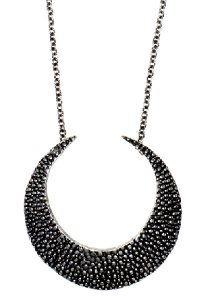 """Lauren Wolf jewelry  Large Silver Stingray Crescent on 33"""" chain.  2.75"""" Height by 2.75"""" Width.  $625.00"""