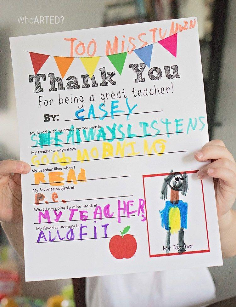 Teacher Appreciation Thank You Card {Free Printable