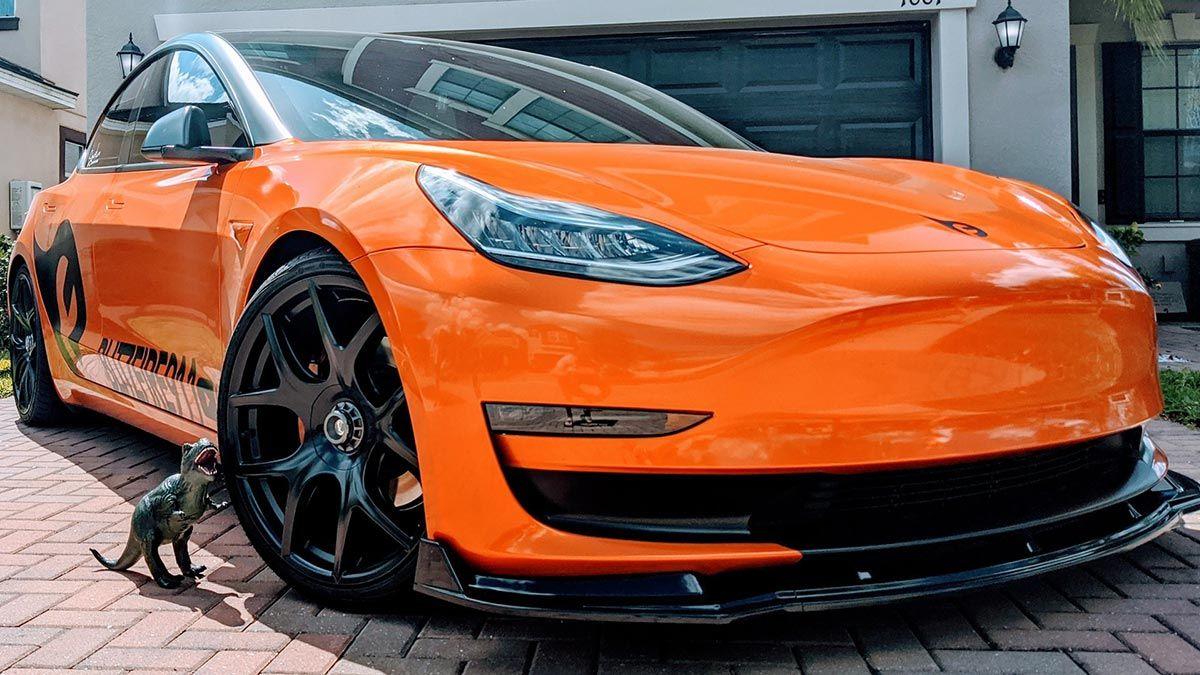 Meet 'Stormbreaker', the Orange wrapped Tesla Model 3 in