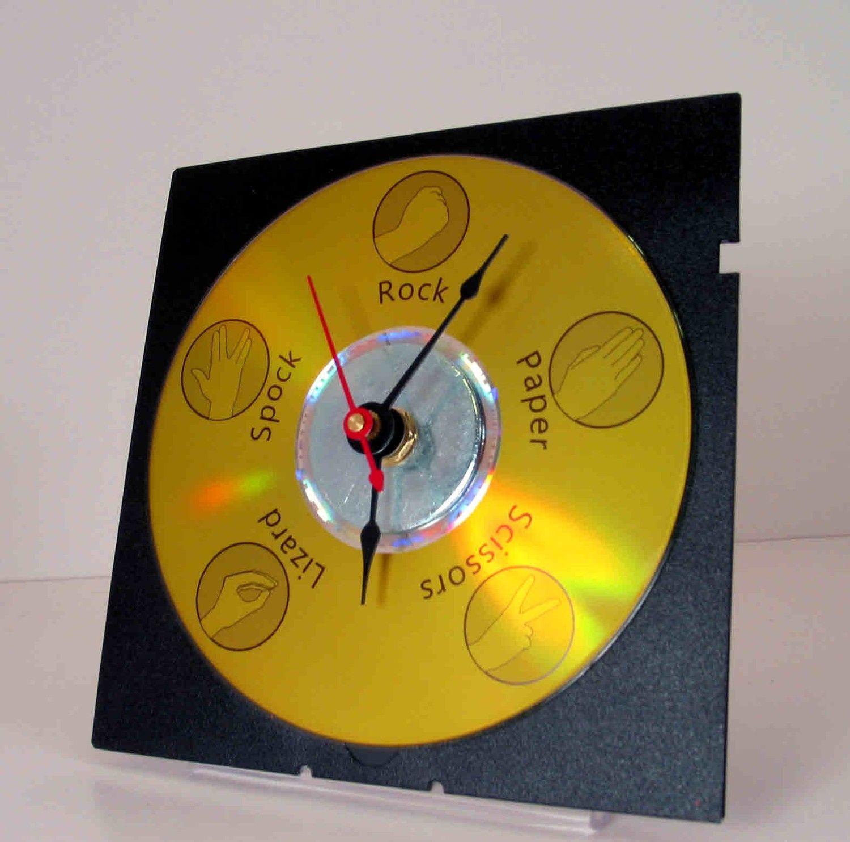 Rock Paper Scissors Lizard Spock Clock 1499 Via Etsy Cubicle Rockpaperscissorslizardspock Geek Pinterest