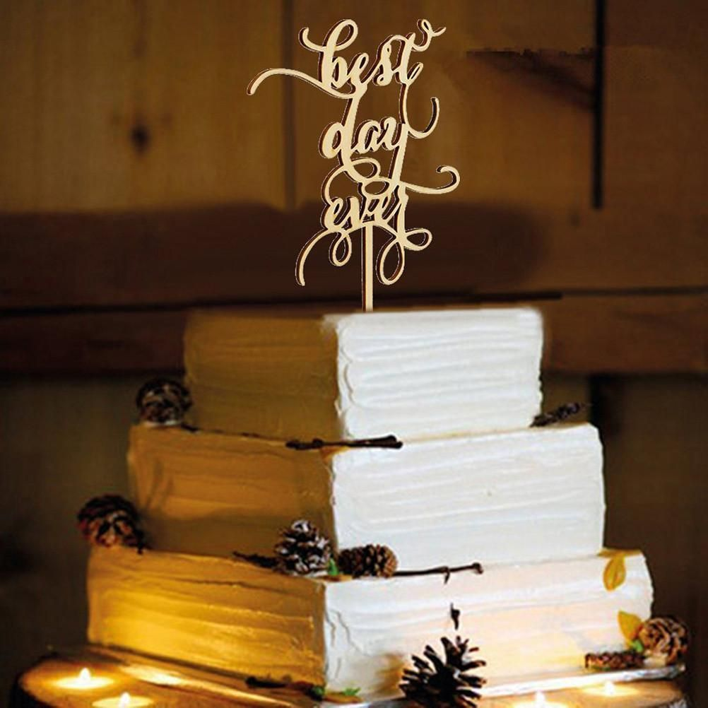 Cake topper for wedding anniversary engagement love message wood