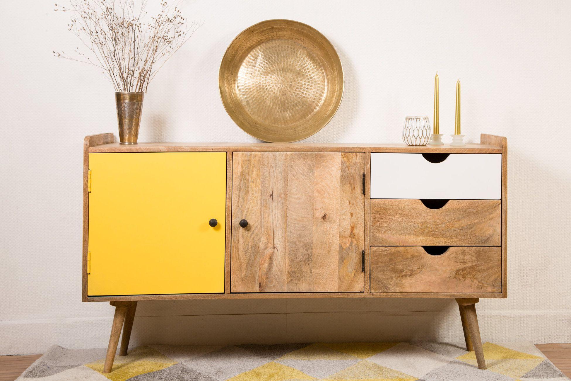Meuble Buffet Scandinave : buffet scandinave 3 tiroirs 2 portes tiroir portes et meubles ~ Nature-et-papiers.com Idées de Décoration