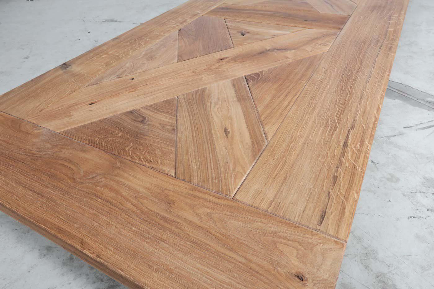 Eiche Tischplatte Landhaus Kreuz Muster 240 X 100 Unikat 06121 In