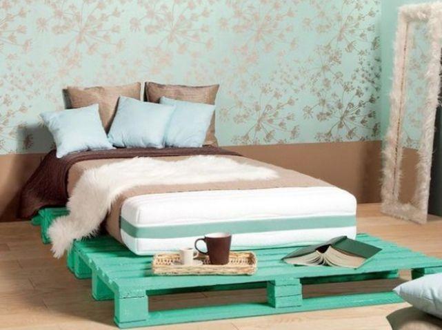 Marle Stappenbeld palette chambre lit  peint en turquoise