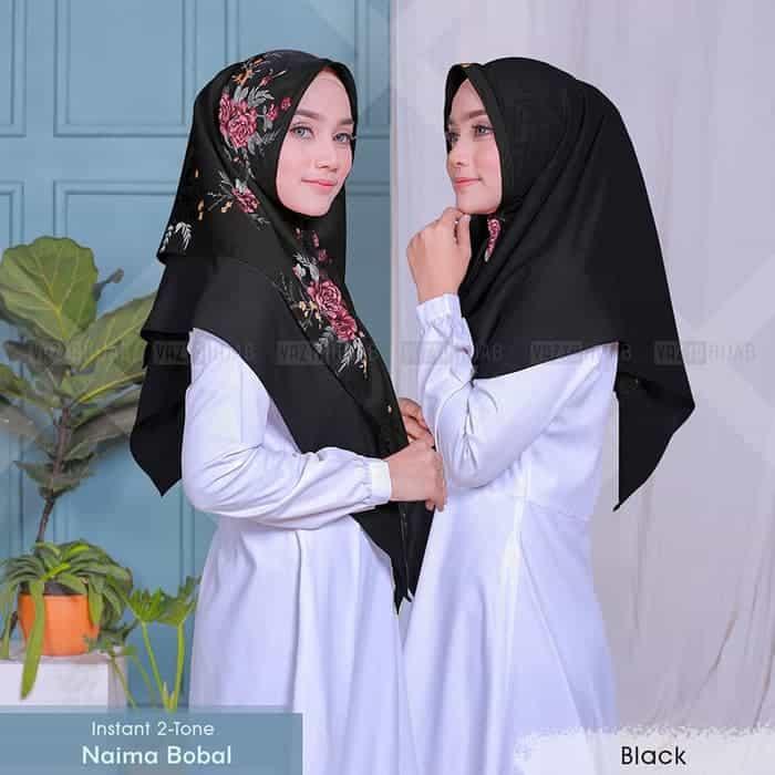 Jilbab Instan 2 Tone Naima Bobal Terbaru Pesta 2020 Pakaian Hijab Kerudung