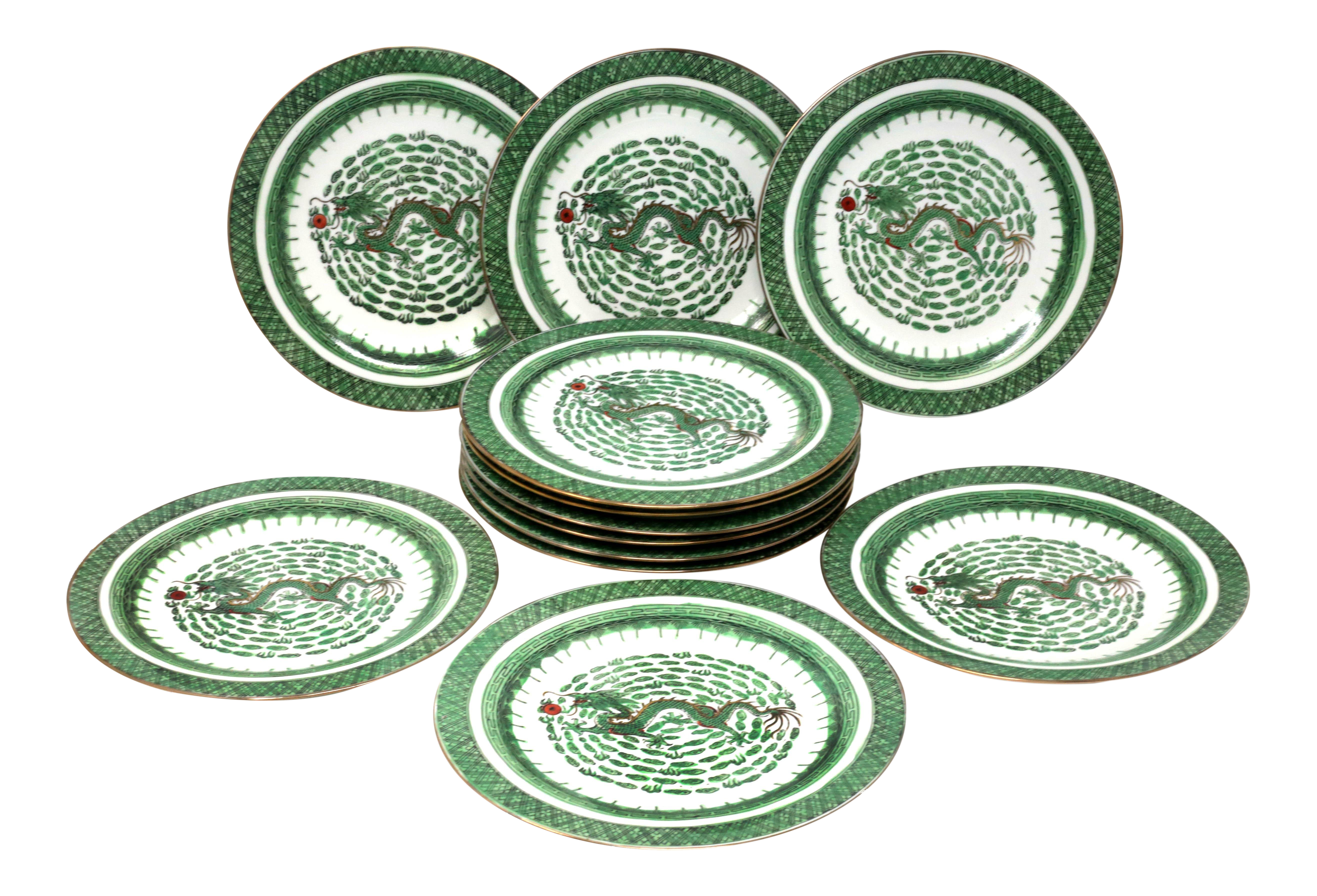 Vintage Hand Painted Dragon Dinner Plates Set Of 12 On Chairish