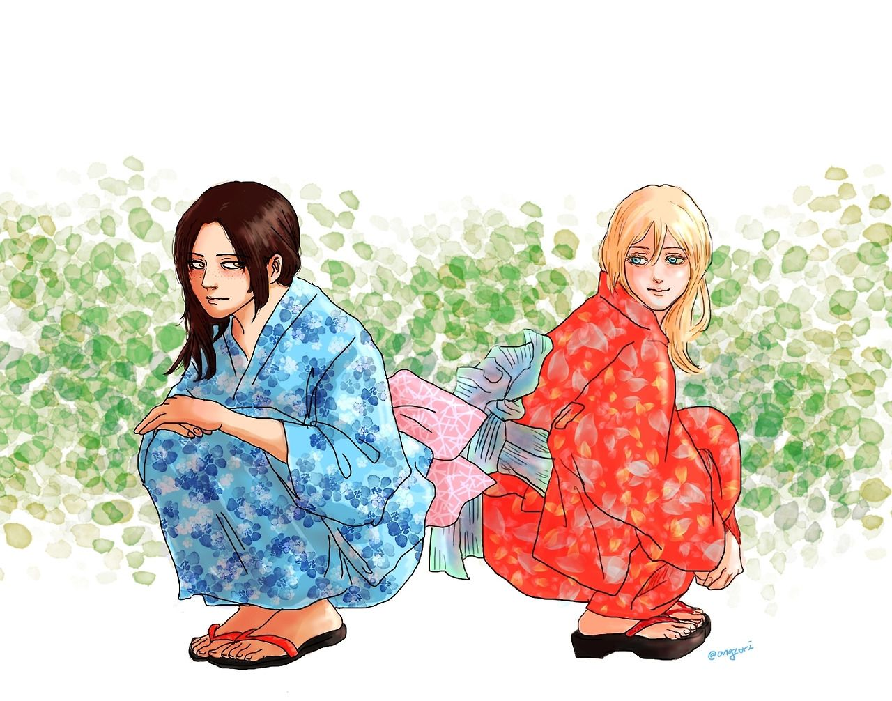 Early summer Ymir&Historia in yukatas Used reference images for Historia