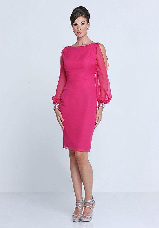 Bridesmaid Chiffon sheath knee length gown, bateau neckline, fashion ...