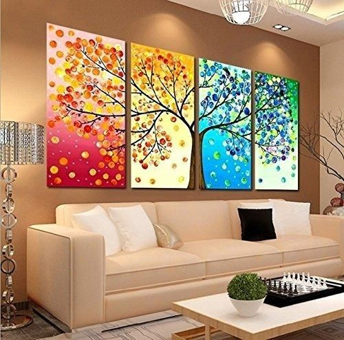Unframed Large Hd 4 Pieces Colorful Tree Abstract Oil Paintings Entrancing Living Room Paintings Decorating Design