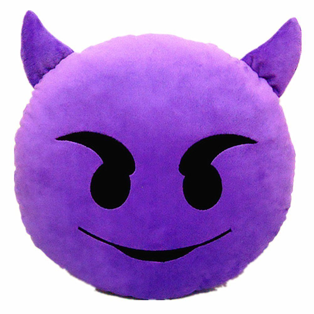 City 32mm emoji emotic nes rire rond peluche oreiller coussin diable coussin smiley - Emoticon diable ...