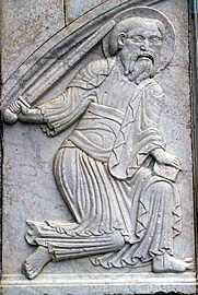 Depiction of Saint Paul on the Maguelone Cathederal. Source: Languedoc page of art-roman.net.