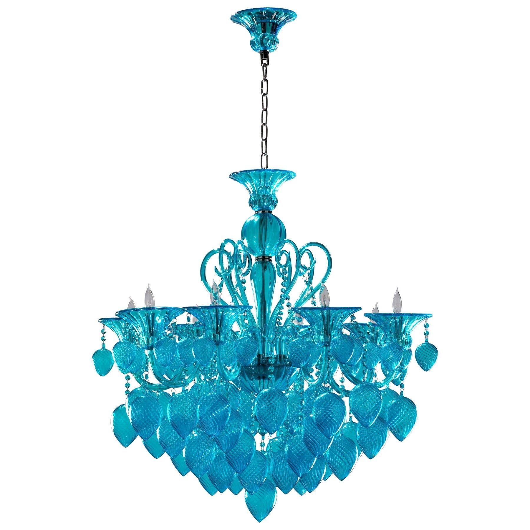 Bella Vetro Chandelier Blue aqua Art Glass