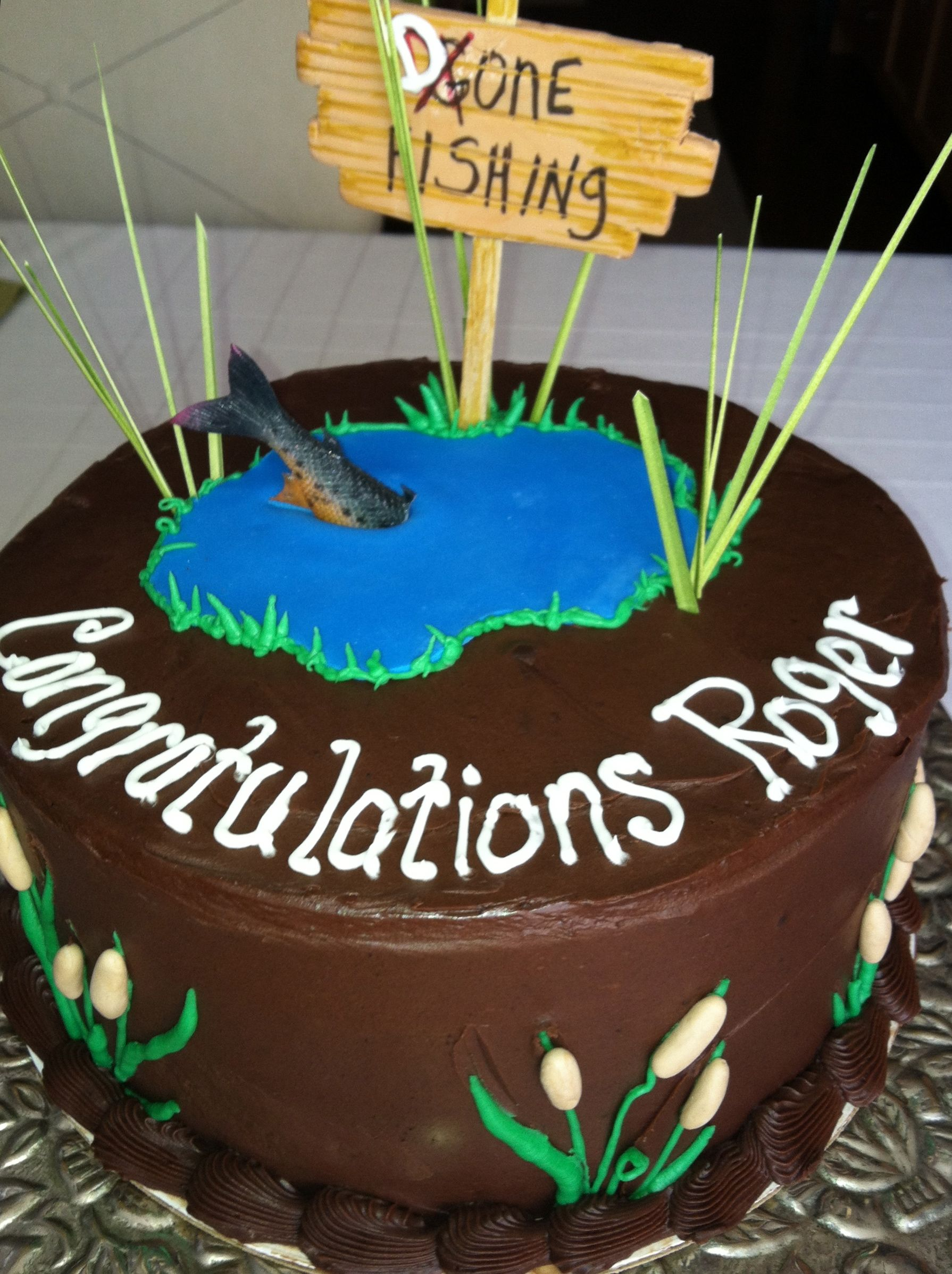 Retirement Cake Gone Fishing Gone Fishing Cake Fish Cake