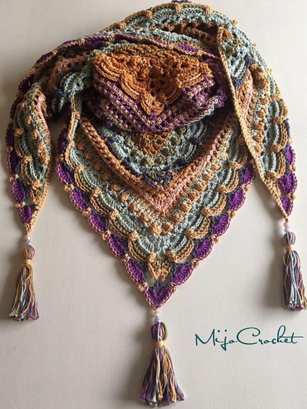 In Zeit verloren Schal kostenlose Häkelanleitung #crochetshawlfree