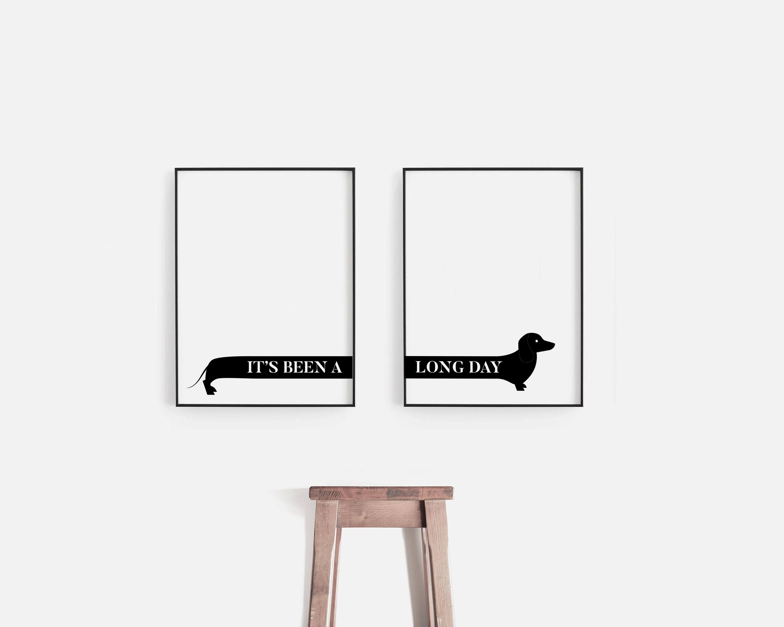 Sausage Dog Dachshund Its Been A Long Day Funny Gift Home Etsy Dachshund Wall Art Dachshund Decor Wall Art Dog Wall Art
