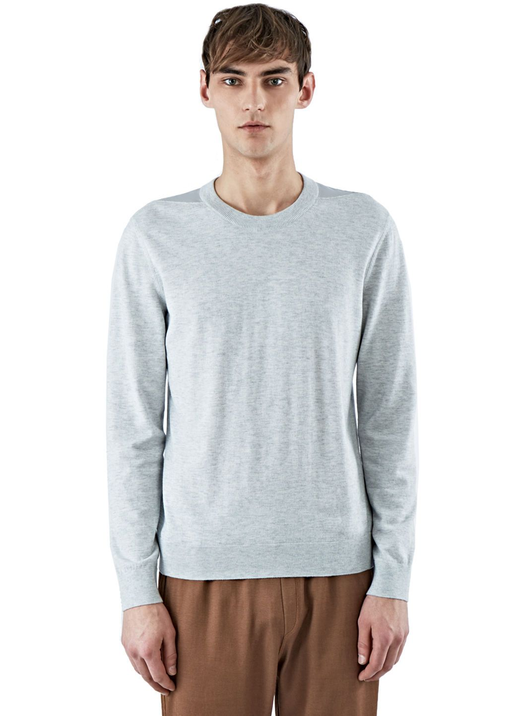 348ad6028355 LANVIN Men S Jersey Crew Neck Sweater With Shoulder Detail In Grey.  lanvin   cloth