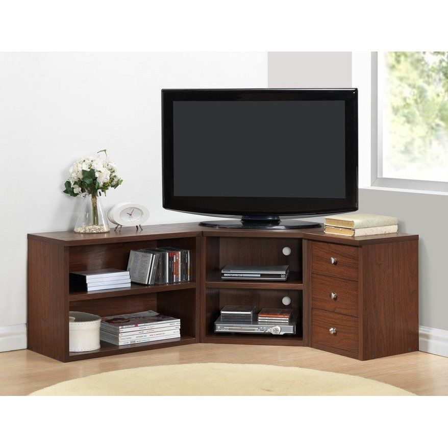 Corner Tv Stand Flat Screen Wood Media Console Entertainment
