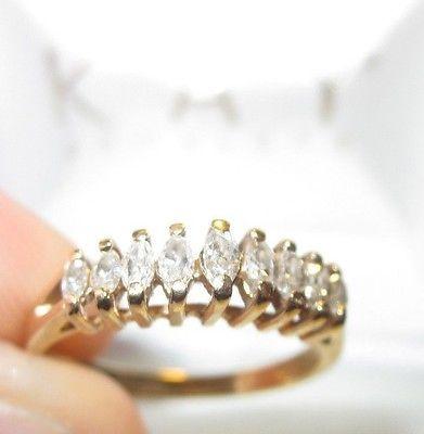 9 Stone Diamond Marquise Anniversary Band Engagement Ring 14k Gold 1 2 50 Ct Anniversary Bands 14k Engagement Ring Band Engagement Ring