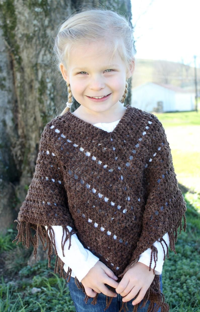 Crochet Poncho PATTERN - Bohemian - Poncho Pattern - fringes - Sizes 2/3, 4/6, 8/10, 12/14, adult S, M, L,XL