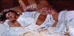 Obsession in White by CM Cooper Oil ~ 15 x 30