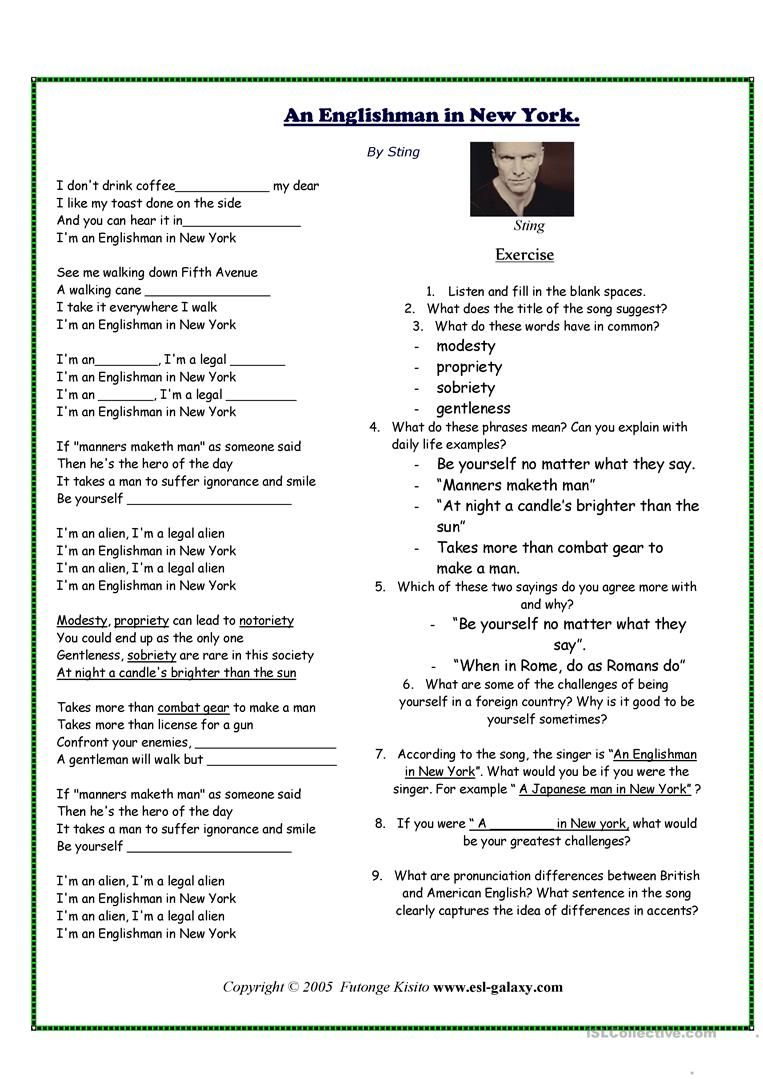 worksheet Esl Pronunciation Worksheets music worksheet songs pinterest worksheets worksheet