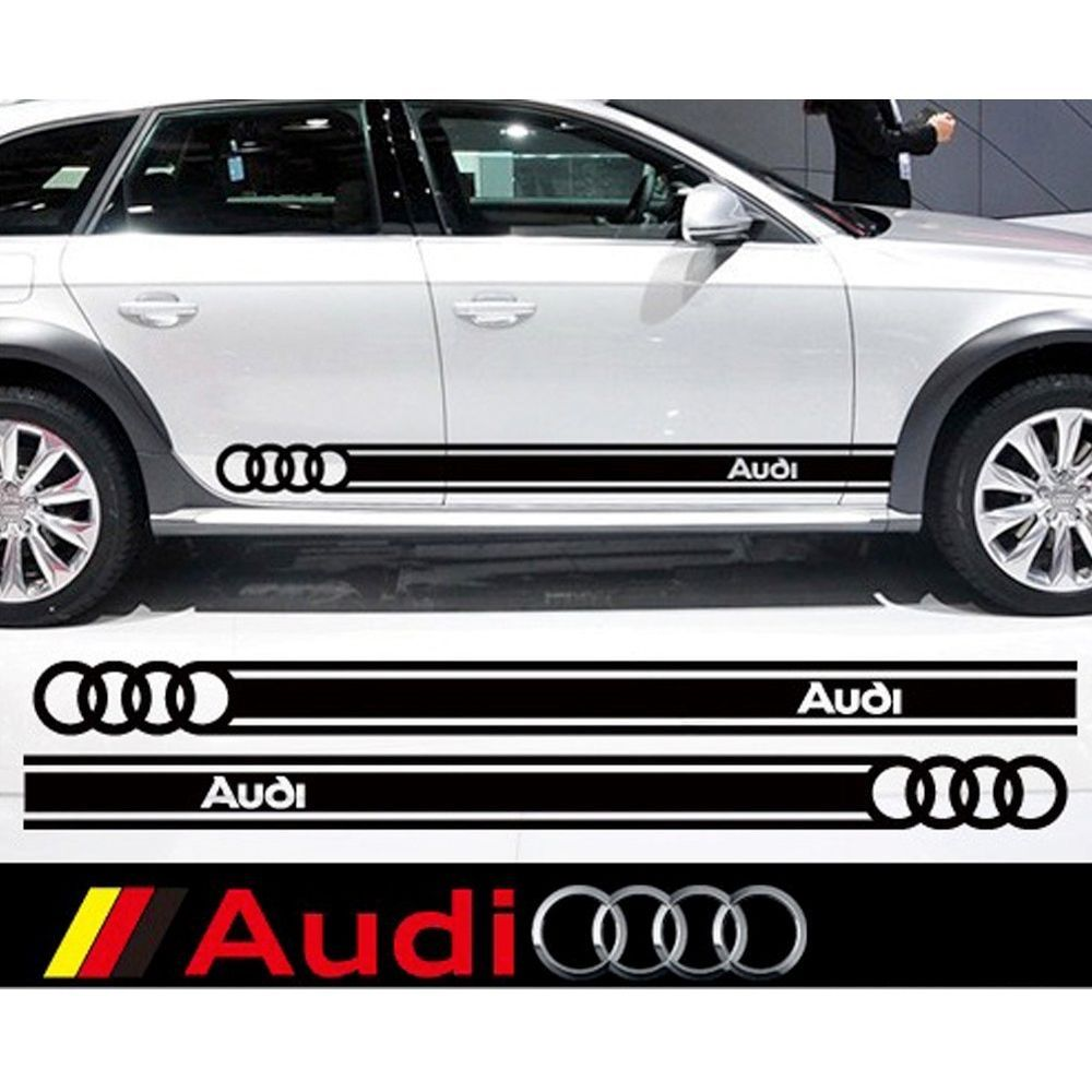 Sport car sticker design - High Quality Car Sticker Body Side Graphic Vinyl Waistline Decal For Audi 1 Pair