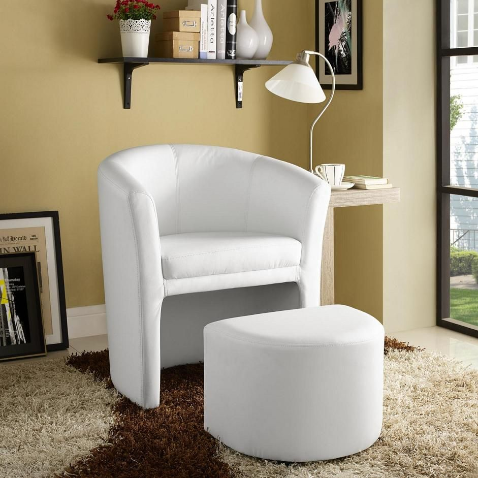 Divulge Armchair and Ottoman in White   \
