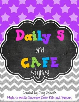 FREE Daily 5 and CAFE Signs -- Three theme choices to fit