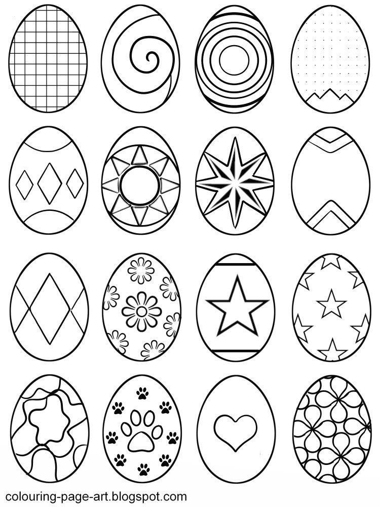A Fun Assortment Of Sixteen Patterned Easter Eggs To Print Out And Colour In Hearts Dots Stars Easter Coloring Sheets Easter Egg Designs Easter Egg Template