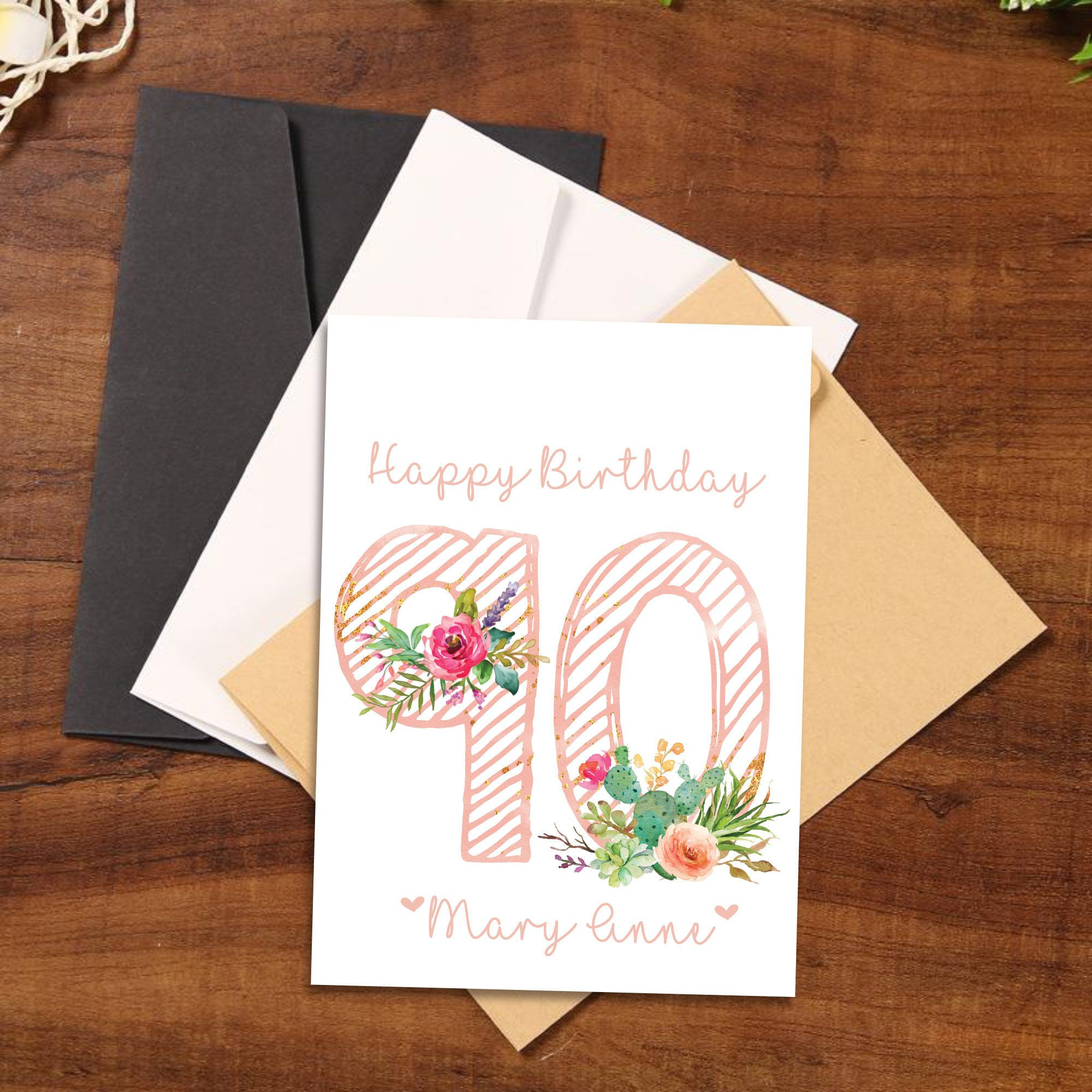 90th Birthday Card Personalized Age 90 Birthday Card Etsy In 2021 30th Birthday Cards 90th Birthday Cards Birthday Card For Aunt