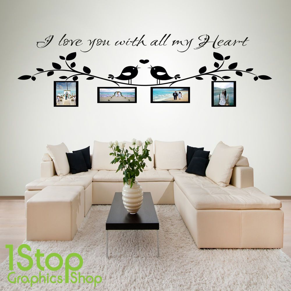I love you personalised photo wall sticker quote lounge wall art