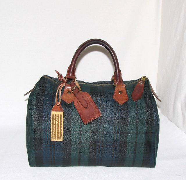 Vintage Ralph Lauren Polo Blackwatch Plaid Large Satchel Handbag w   Original Brush   Luggage Tag 12