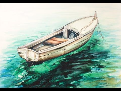 Watercolor Sea Boat On A Water Painting Demonstration Youtube