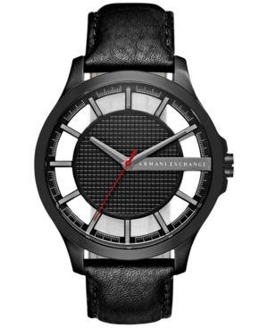 A|X Armani Exchange Men's Black Leather Strap Watch 46mm AX2180 - Black