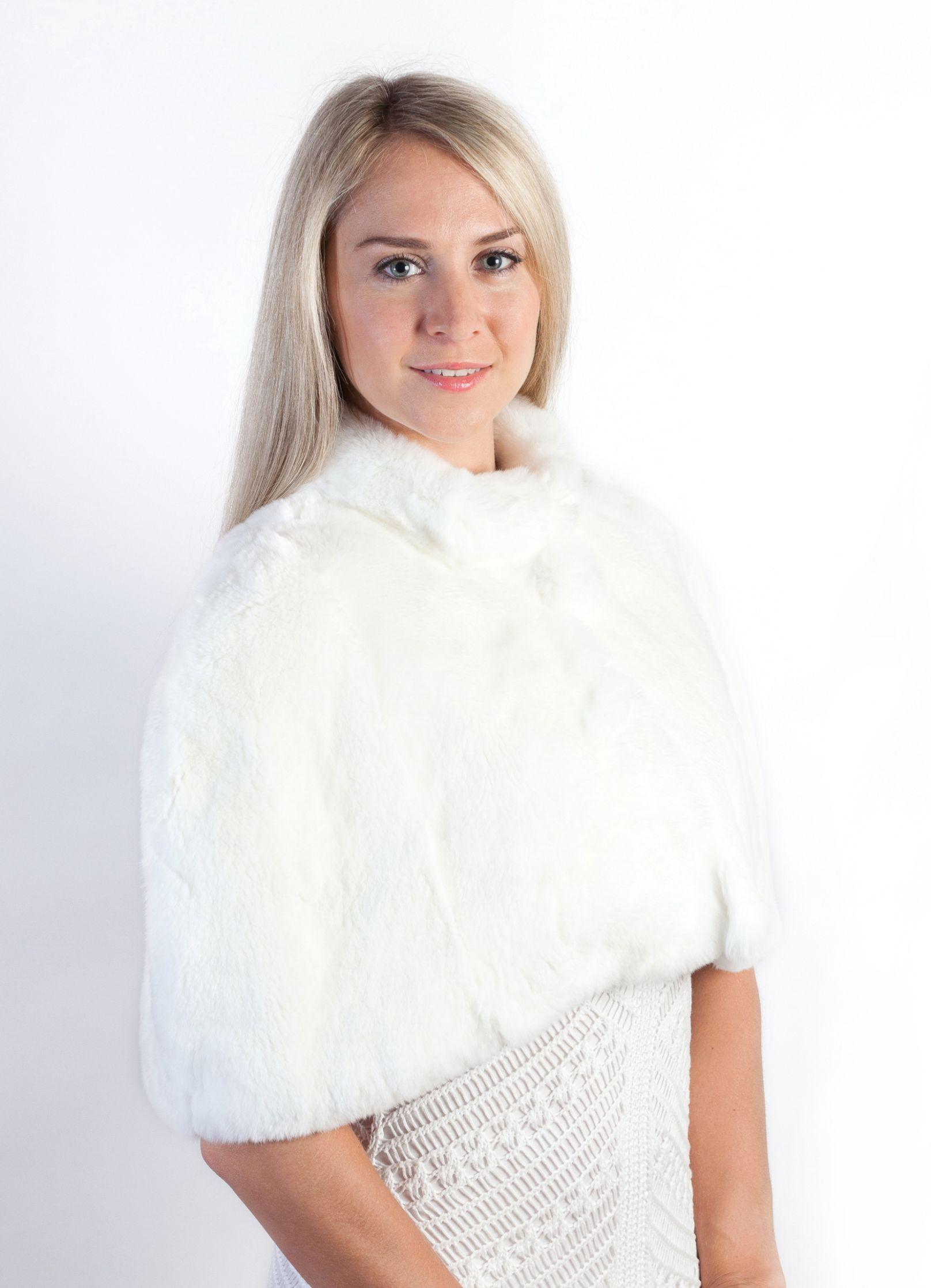 Coprispalle in pelliccia di rex bianco naturale. Per un matrimonio elegante  e da favola.
