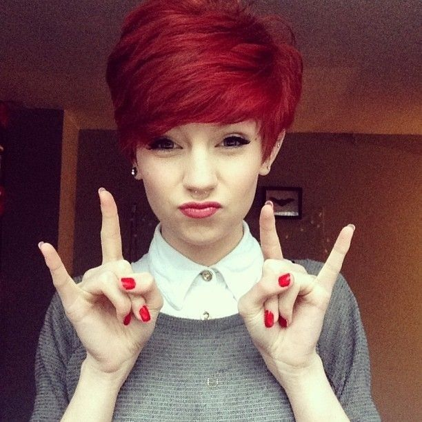 Red Short Pixie Haircut for Girls