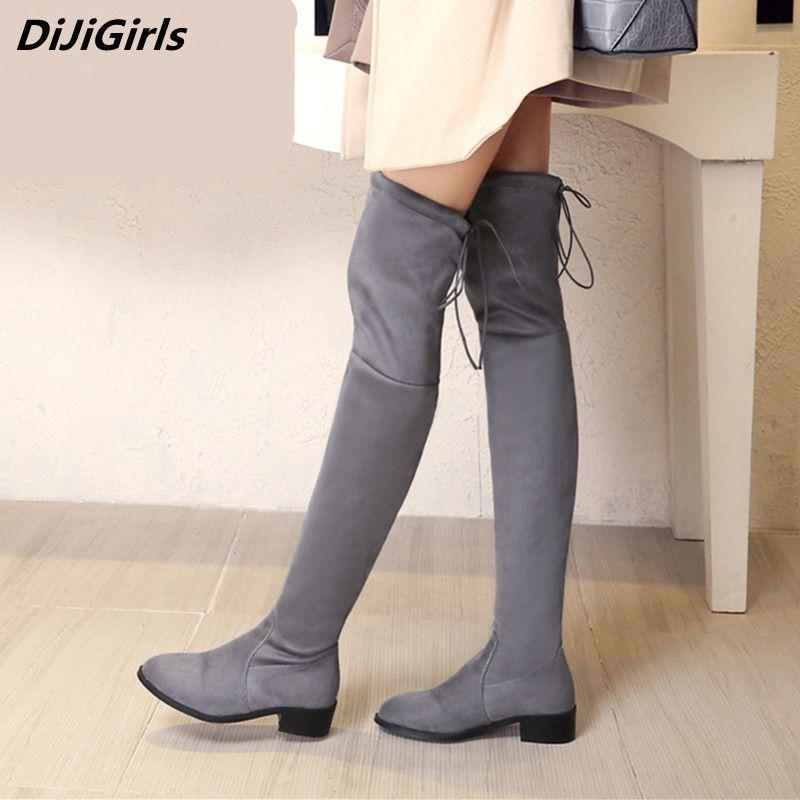 Punta del dedo del pie sobre las botas de rodilla para la mujer DtFwW7BBUb