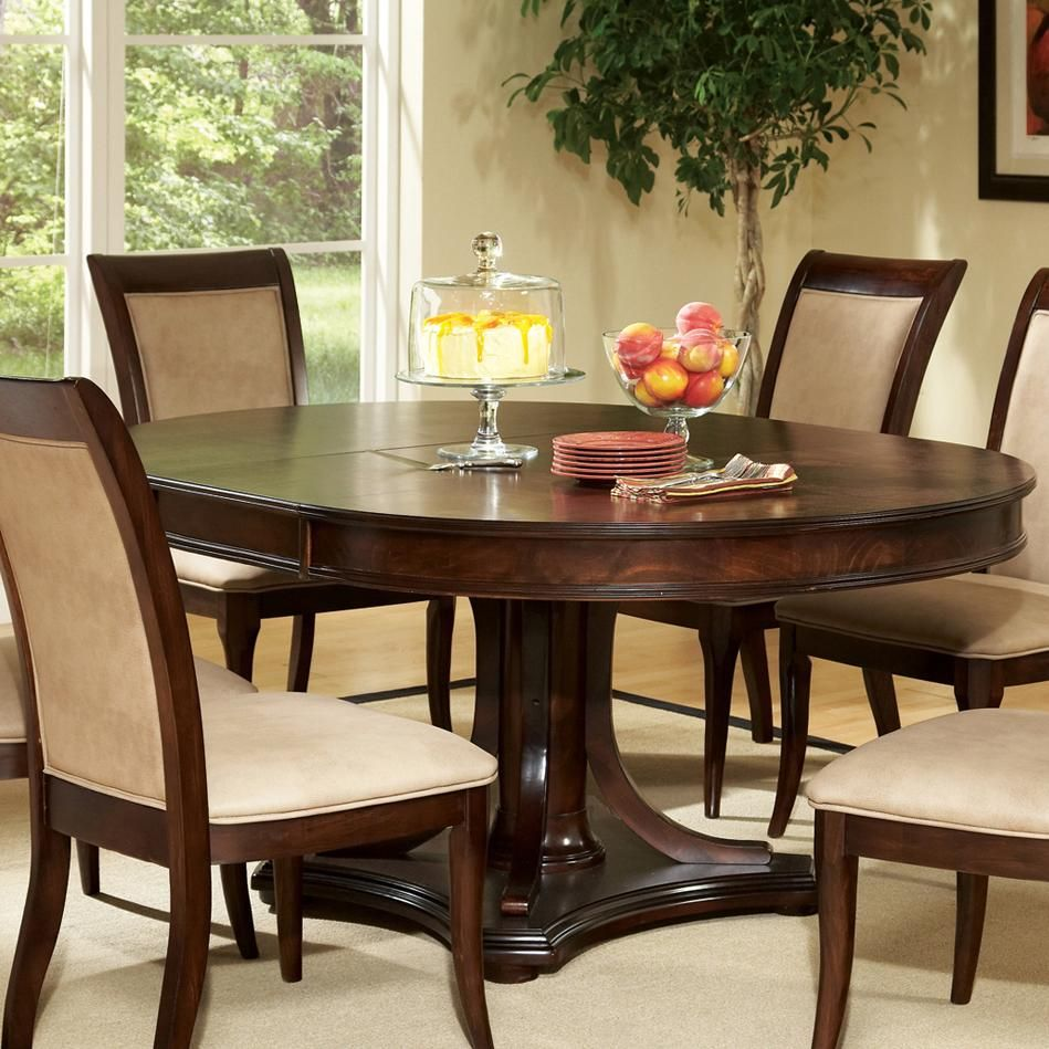 Round Dining Set With Leaf: Marseille Round Top Pedestal Base Table With Extension