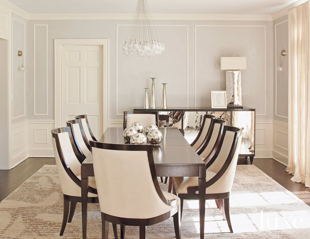 Transitional Cream Dining Room With Curvedback Chairs Stunning Dining Room Mirrors Modern 2018