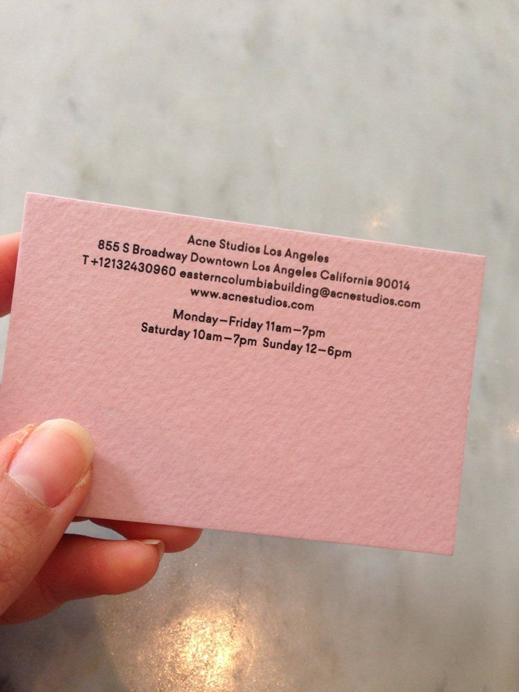Acne Studios - Los Angeles, CA, United States. Business card (back ...