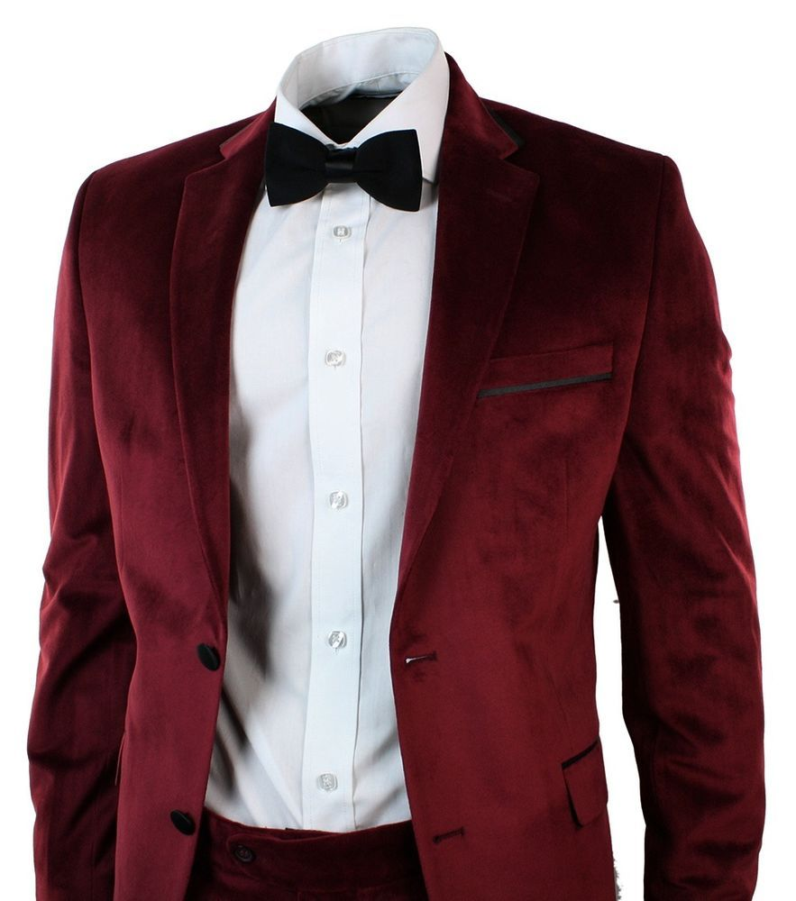 Mens Velvet Tailored Fit Maroon Wine Burgandy 3 Piece Suit Wedding Party Bow Tie Clothes Shoes Acc Mens Velvet Suit Velvet Jacket Men 3 Piece Suit Wedding