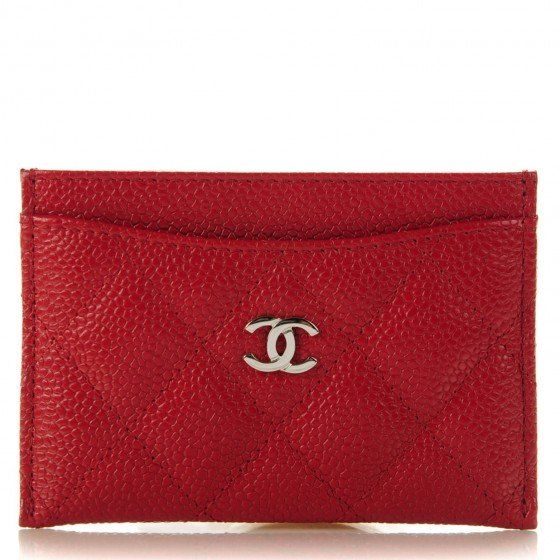 bba09b9fb81c This is an authentic CHANEL Caviar Quilted Card Holder in Red. This simple  and very chic card holder is crafted of luxurious caviar leather in a deep  red.