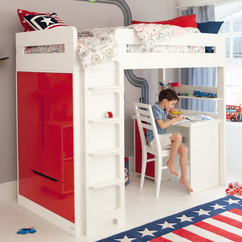 Loft bed with desk for girls  The Farringdon high sleeper includes a bed with an integral double