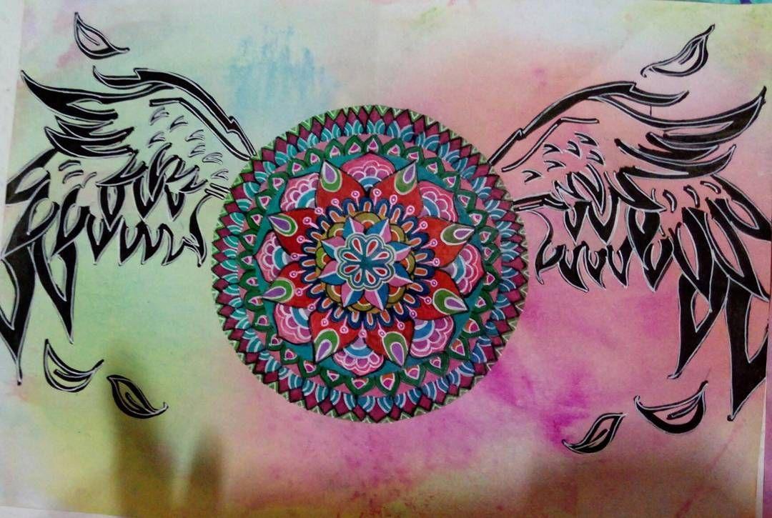 "25 curtidas, 3 comentários - @relmaart no Instagram: ""My art! ! I loved that! 😃😃 #mandala #loved #drawing #mandalalover"""