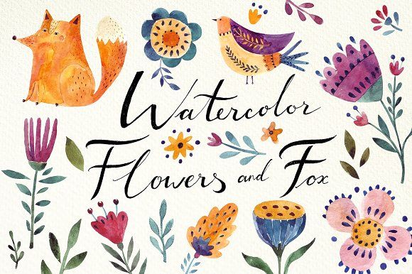 clip art for any project! Fabulous Flowers and Animals by MoleskoStudio on @creativemarket #ad