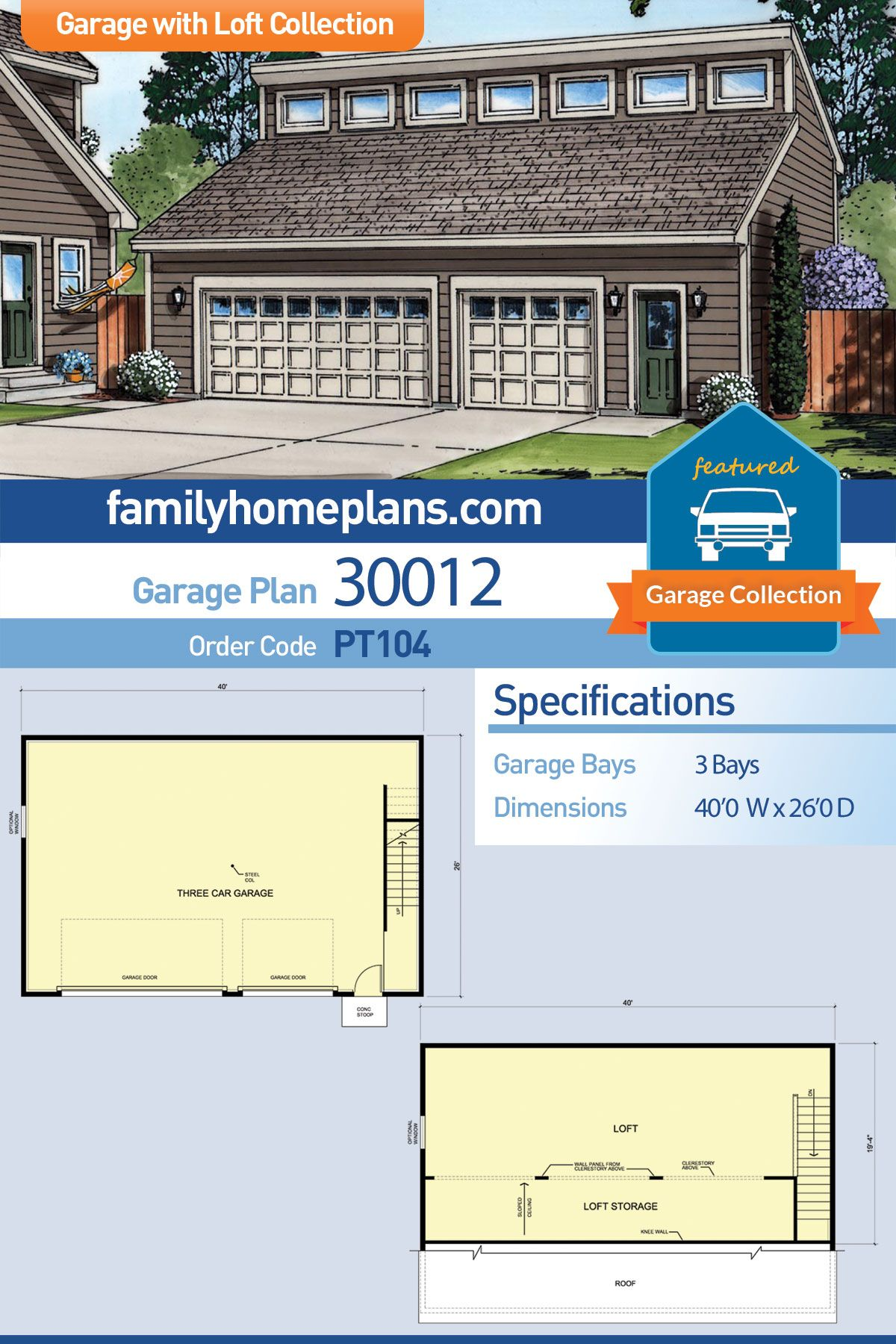 Contemporary Style 3 Car Garage Plan Number 30012 Garage Plans With Loft Garage Plan Garage Building Plans