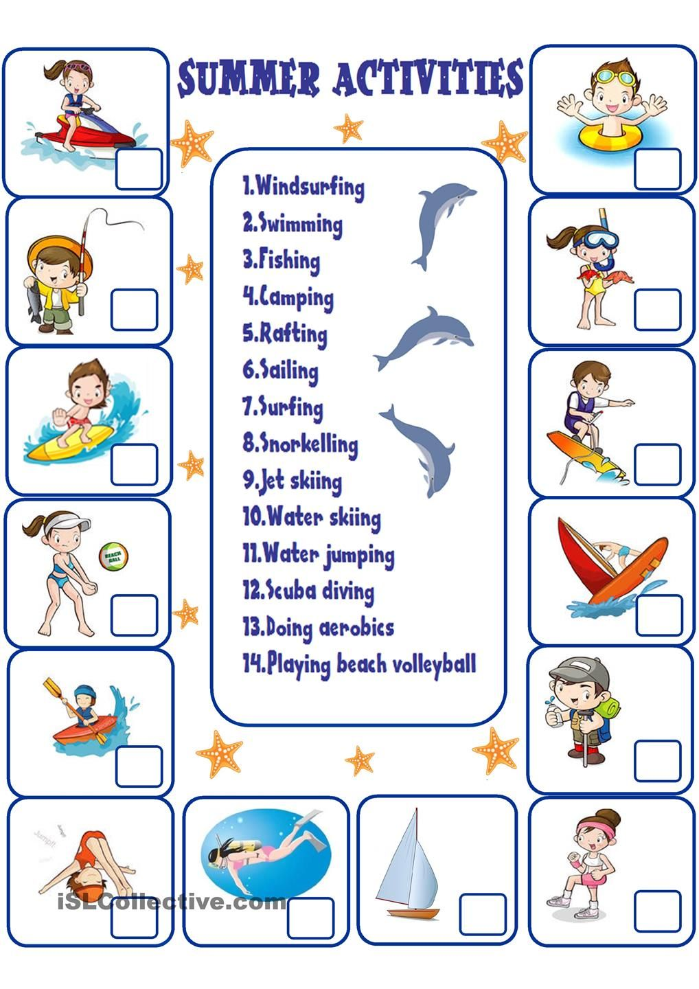 Fun Class Worksheets : Summer activities free esl worksheets verano
