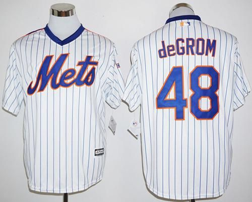 mets 48 jacob degrom white(blue strip) cool base cooperstown 25th stitched mlb jersey